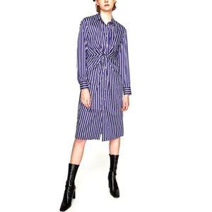 Zara Twist Front Blue Striped Shirtdress